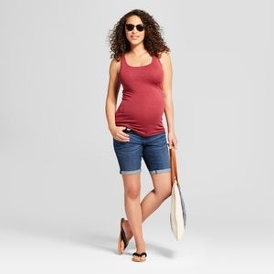 Maternity Inset Panel Bermuda Jean Shorts  #59-13